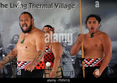 Maori perform the Haka, Whakarewarewa Maori Village, Rotorua, North Island, New Zealand - Stock Photo