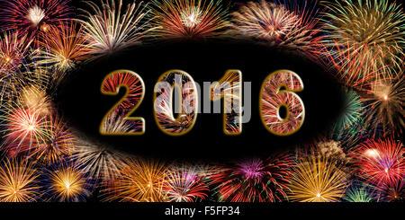 Festive fireworks display, Happy New Year 2016 - Stock Photo