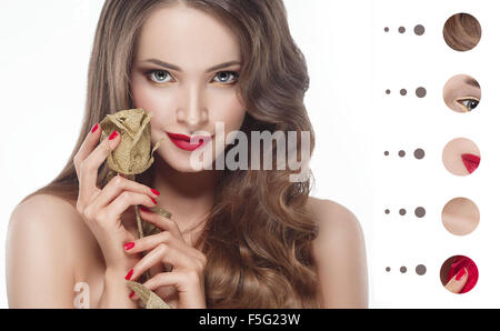 Portrait woman with problem and clear skin, youth  make up concept - Stock Photo