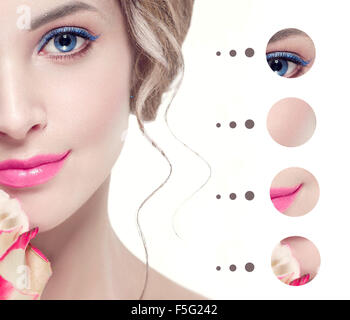 Portrait woman with clear skin, youth make up concept - Stock Photo