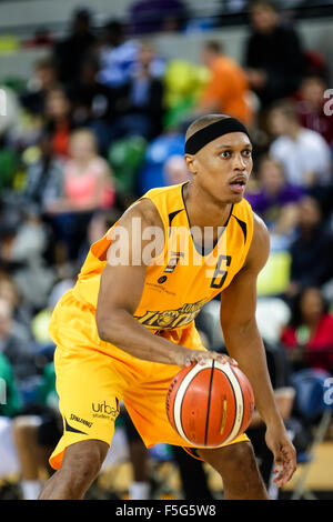 London UK. 29th October, 2015. London Lion's Andre Lockhart with the ball. London Lions vs Manchester Giants BBL - Stock Photo