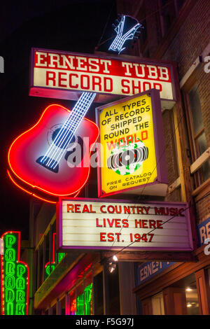 Honky Tonk row in Nashville Tennessee TN bar neon - Stock Photo