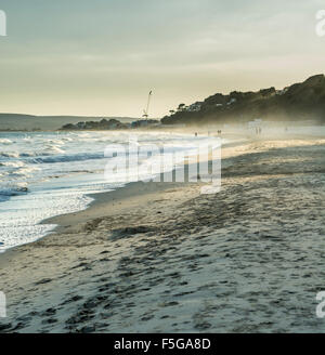 View of beach at Branksome Chine, Poole, Dorset, UK. Taken on 27th September 2015. - Stock Photo