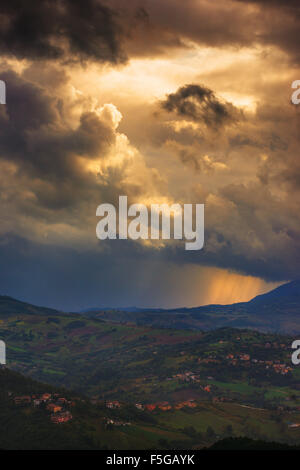 Storm in San Marino. View from the old town of San Marino. - Stock Photo