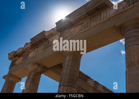 Part of the ancient Acropolis in Lindos on the Greek island of Rhodes. - Stock Photo