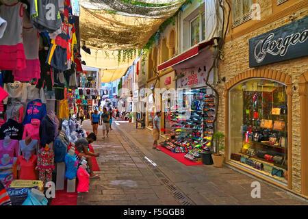 Tourist shops in the bazaar area of Bodrum town, towards 'Bar Street'. Mugla Province, Turkey - Stock Photo