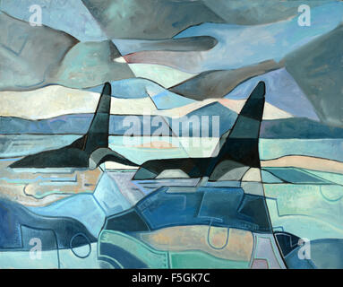 Abstract painting of two orcas swimming. Oil on Canvas - Stock Photo