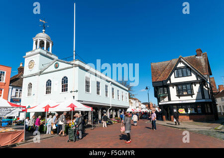 The Guildhall and Market Square in Faversham, Kent. - Stock Photo
