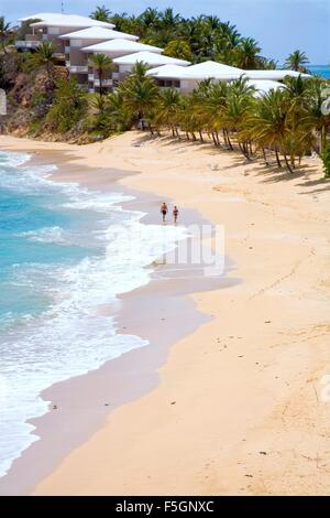 Fabulous beach at Curtain Bluff resort and bay on the  south coast of Antigua. Caribbean - Stock Photo
