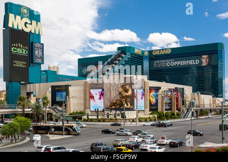 Las Vegas, Nevada.  MGM Grand Hotel and Casino, Corner of South Las Vegas Boulevard and Tropicana Avenue. - Stock Photo
