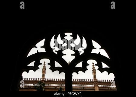 Gothic atrium of Monastery of Saint John of the Kings, Toledo, Spain - Stock Photo