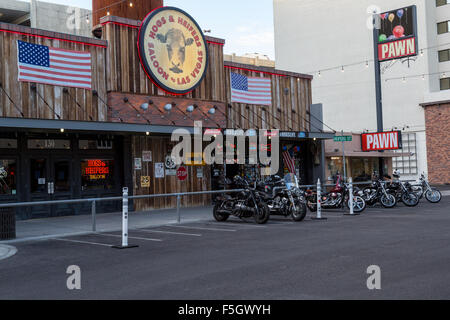 Las Vegas, Nevada.  Bar and Pawn Shop, North 3rd. Street Downtown. - Stock Photo