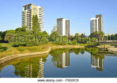 Parc Diagonal Mar and modern residential properties in Sant Marti district of Barcelona Spain Europe - Stock Photo