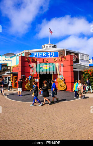 Pier 39 in the Fisherman's Wharf district of San Francisco CA - Stock Photo