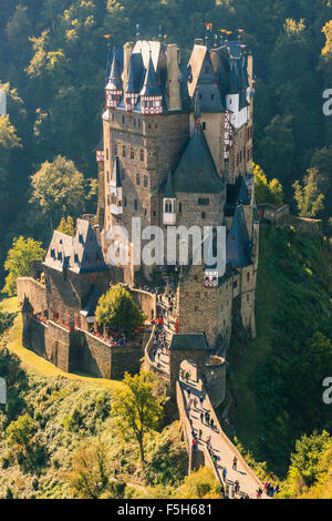 Eltz Castle is a medieval castle nestled in the hills above the Moselle River between Koblenz and Trier, Germany - Stock Photo