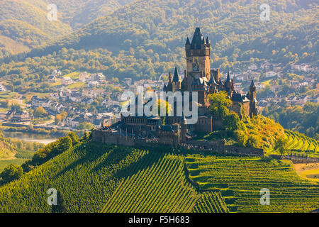 Reichsburg Cochem Castle is more than a castle. It is the largest hill-castle on the Mosel river, Germany. - Stock Photo