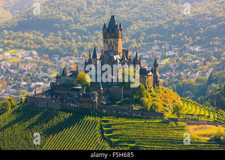Reichsburg Cochem Castle is more than a castle. It is the largest hill-castle on the Mosel, Germany. - Stock Photo