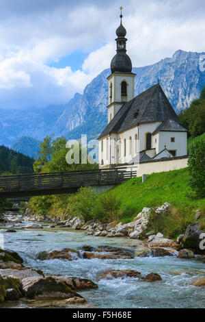 The Church of St. Sebastian in Ramsau near Berchtesgaden, Bavaria, Germany. - Stock Photo