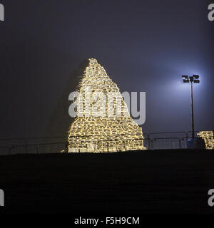 Leeds, UK. 4th November, 2015. Photograph of the large bonfire made of wooden pallets at Roundhay Park in Leeds. - Stock Photo