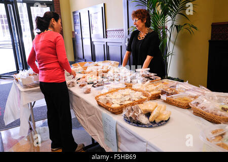 Japan Earthquake and Tsunami Relief Bake and Used Book Sale held by employees of Encyclopaedia Britannica in Chicago, - Stock Photo