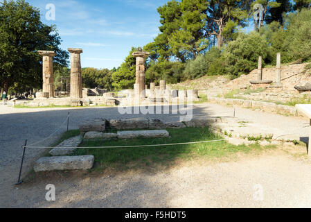 Ancient temple of Goddess Hera and altar of God Zeus at Olimpia archaeological site in Greece. Here the lightening - Stock Photo
