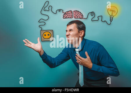 businessman man wrinkled his face and stretched out his hand dis - Stock Photo