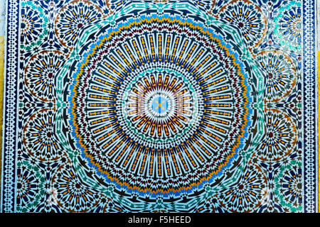 Closeup of colorful Moroccan tile-work. - Stock Photo