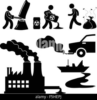 Global Warming Illegal Pollution Destroying Green Environment Concept Icon - Stock Photo