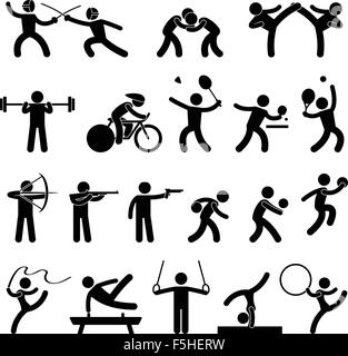 Indoor Sport Game Athletic Set Icon Symbol Sign Pictogram - Stock Photo