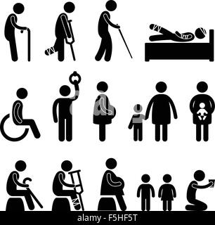 People in Need of Priority Old Pregnant Disable - Stock Photo
