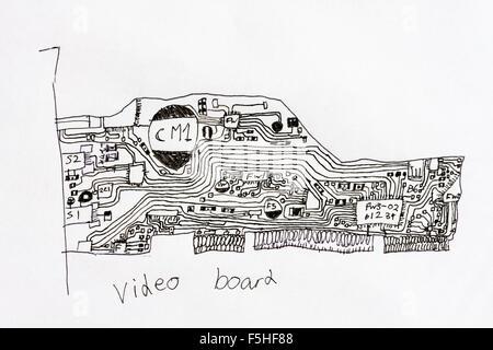 circuit board computer drawing