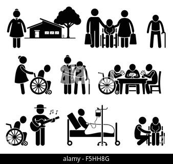 Elderly Care Nursing Old Folks Home Retirement Centre Pictogram - Stock Photo