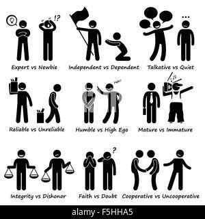 Human Opposite Behaviour Positive vs Negative Character Traits Stick Figure Pictogram Icons - Stock Photo
