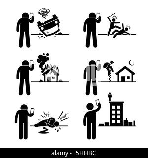 Using Phone Camera to Take and Record Video Picture of Incident Stick Figure Pictogram Icon - Stock Photo