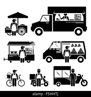 Mobile Food Vehicles Lorry Truck Van Wagon Bicycle Bike Cart Stick Figure Pictogram Icons - Stock Photo