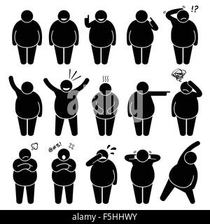 Fat Man Action Poses Postures Stick Figure Pictogram Icons - Stock Photo