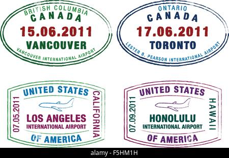 Passport stamps of the US and Canada in vector format. - Stock Photo