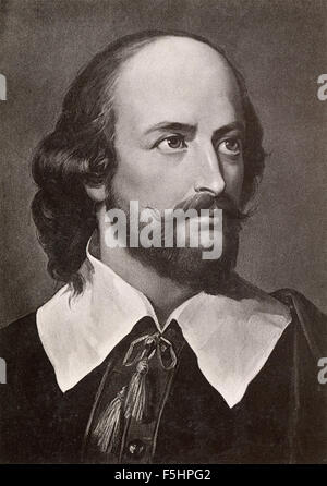 Portrait of the poet and playwright William Shakespeare English - Stock Photo