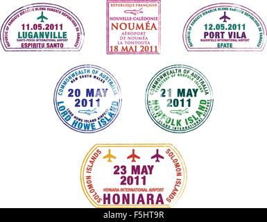 Passport stamps from the western Pacific Island countries in vector format. - Stock Photo