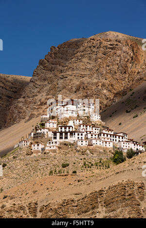 India, Himachal Pradesh, Spiti Valley, Key Monastery, hillside Buddhist gompa - Stock Photo