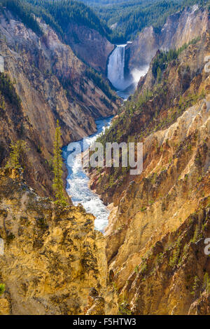 Lower Falls and Grand Canyon of the Yellowstone, from Artists Point, Yellowstone National Park, Wyoming, USA - Stock Photo