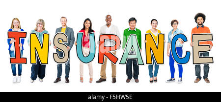 Multiethnic Group of People Holding Letter Insurance Concept - Stock Photo