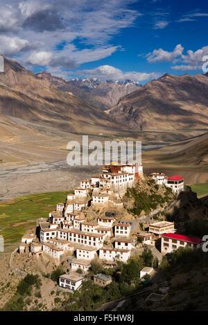 India, Himachal Pradesh, Spiti Valley, Key Monastery, hillside Buddhist gompa in early morning light - Stock Photo