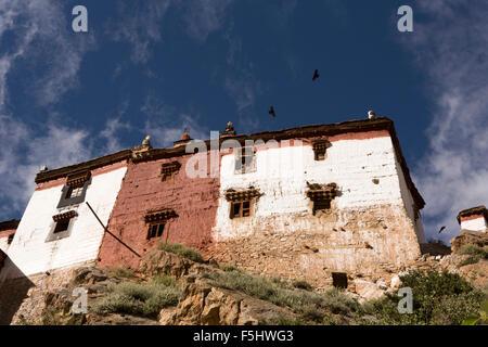 India, Himachal Pradesh, Spiti Valley, Key Monastery, hillside Buddhist gompa, Prayer Hall - Stock Photo