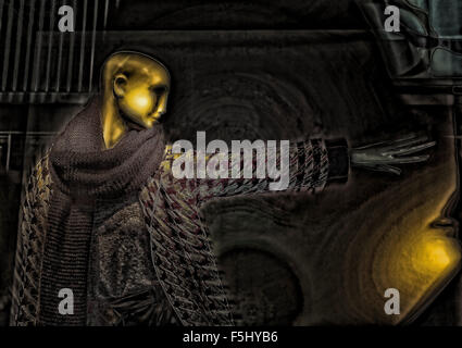 Display mannequin with a ''golden'' face and one arm outstretched, reaching for the light. Digital art and illustration. - Stock Photo