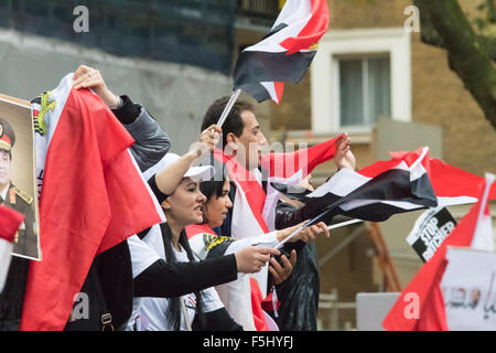 Whitehall, London, November 5th 2015. Pro Sisi demonstrators and counter protesters from UK Egyptian and human rights - Stock Photo
