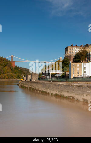 A view from the River Avon of the Clifton Suspension Bridge. - Stock Photo