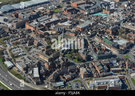 An aerial view of the town centre of Chesterfield with the famous 'crooked spire' visible - Stock Photo