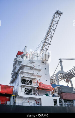 large cranes in sea cargo port of Rotterdam - Stock Photo
