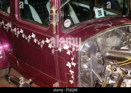 Close-up of a highly decorated pink vintage car - Stock Photo